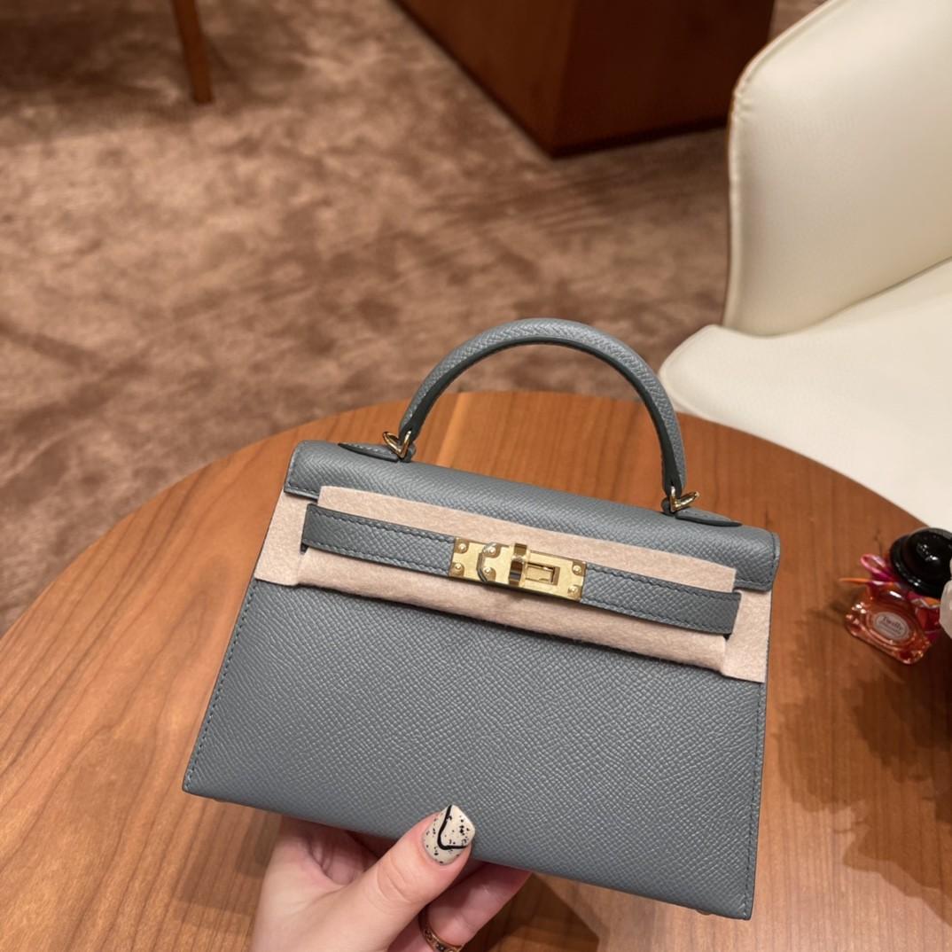 Hermes Mini Kelly 二代 特别精致小巧,热销度 Epsom 皮 63 杏绿 金扣
