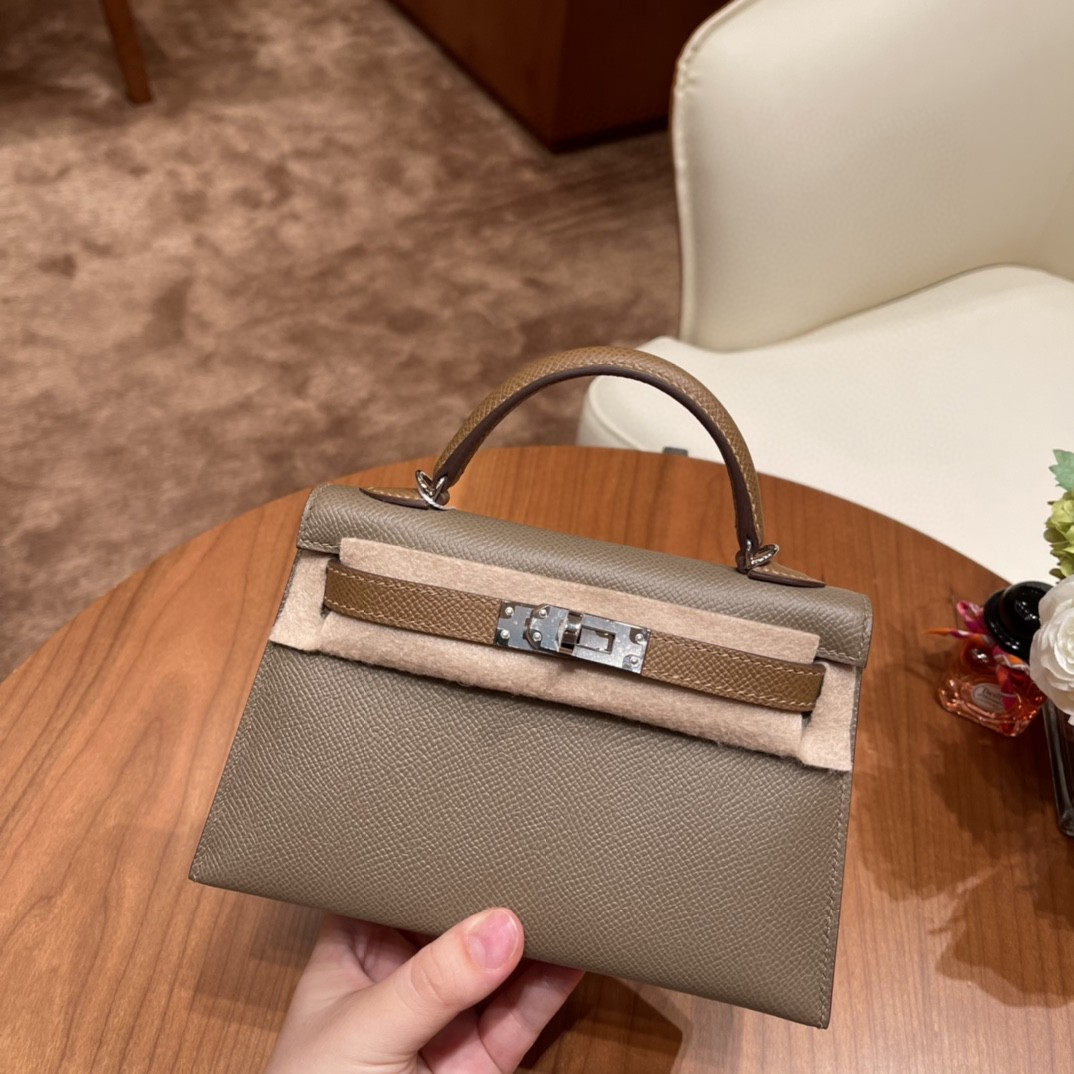 Hermes Mini Kelly 二代 特别精致小巧,热销度 Epsom 皮  大象灰 金棕色