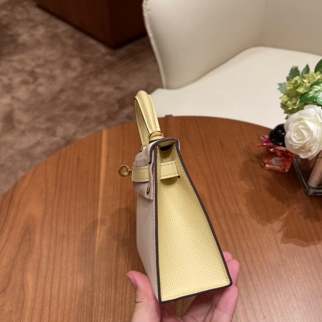 Hermes Mini Kelly 二代 特别精致小巧,热销度 Epsom 皮 奶昔白小鸡黄