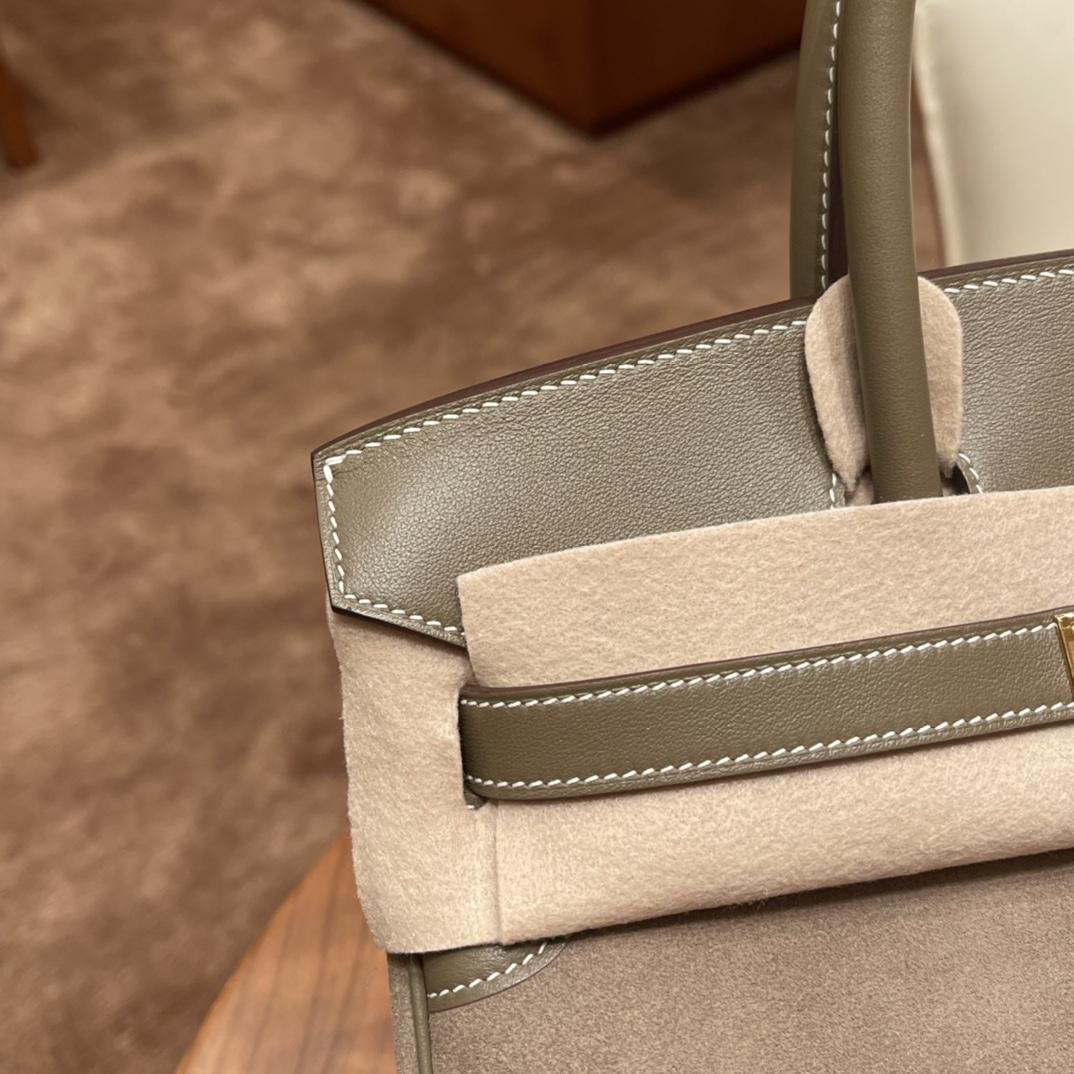 香港爱马仕官网 铂金包 Birkin 25 鹿皮 山羊皮、越用越亮的皮!大象灰 玫瑰金扣 这是什么神仙拼色 太美啦