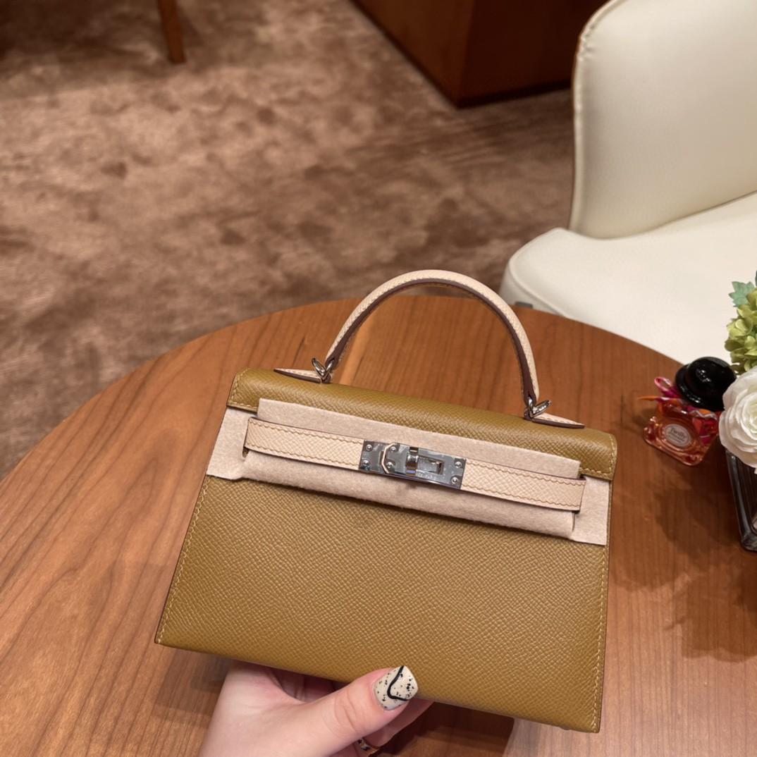 爱马仕 Mini Kelly 二代 SO 特别精致小巧,热销度 Epsom 皮 U8 青铜色拼P1 蔷薇粉 银扣