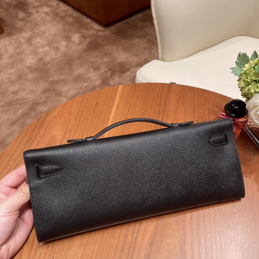 HERMES 爱马仕 Kelly cut 宴会必备款 时尚又好看百搭的,高气场的手包  Epsom 皮 89 黑色 金扣