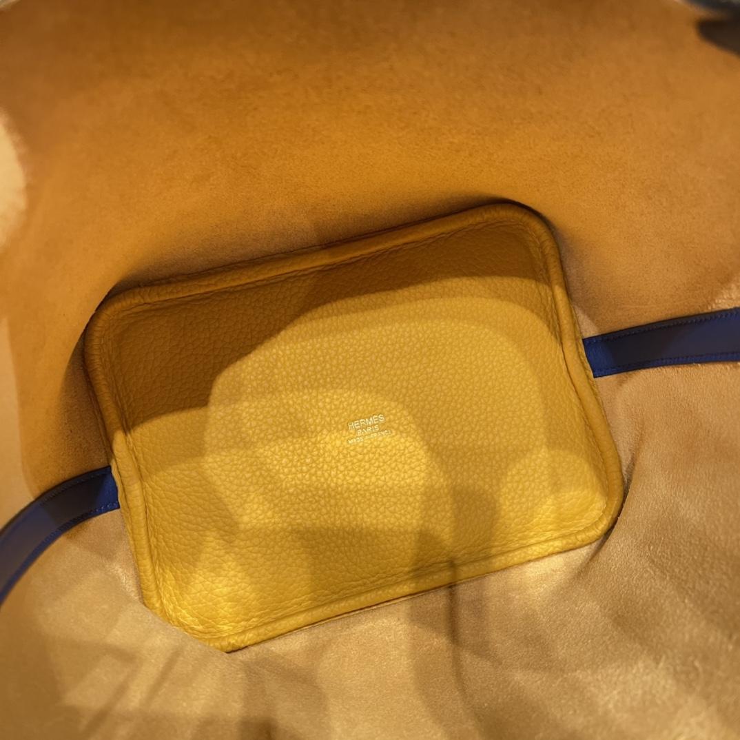 香港爱马仕 HERMES picotin 18cm 超级百搭的菜篮子 入门款实用款,容量大 超级推荐 Tc皮9D 琥珀黄拼 swift 希腊蓝 金扣