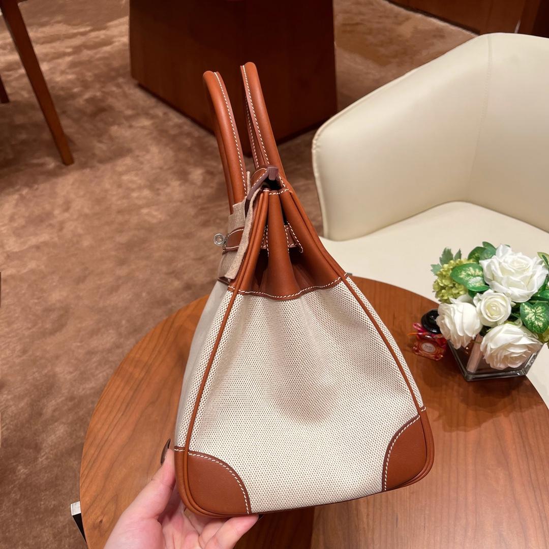 香港爱马仕官网 Birkin 35cm 帆布拼barenia马鞍皮  37 金棕 银扣 优雅迷人 值得收藏