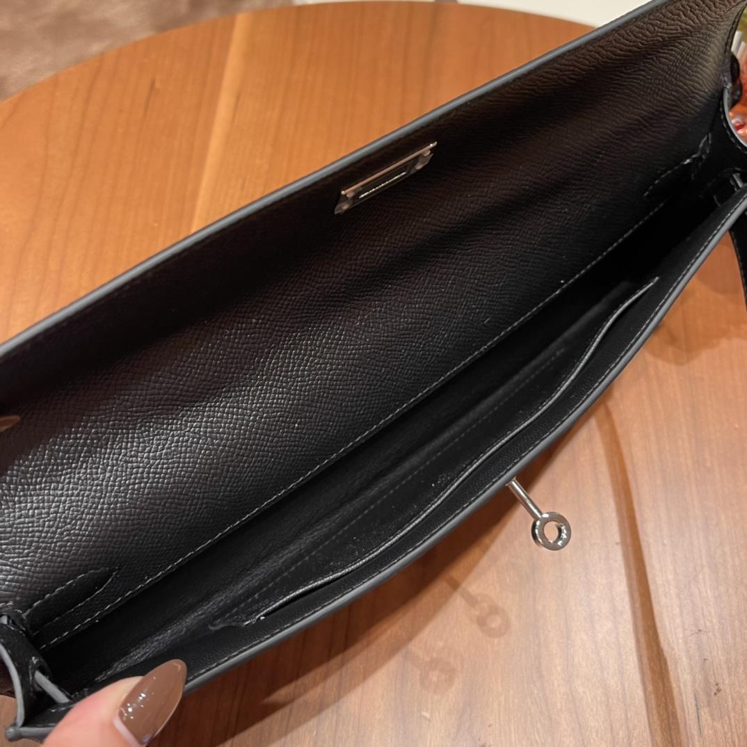 HERMES 爱马仕 Kelly cut 宴会必备款 时尚又好看百搭的,高气场的手包  Epsom 皮 89 黑色 银扣